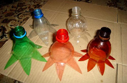 Заготовки цветов из пластиковых бутылок