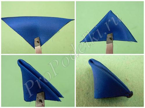 Создание лепестка из синей ленты