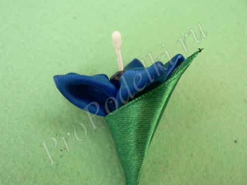 Готовый синий цветочек канзаши