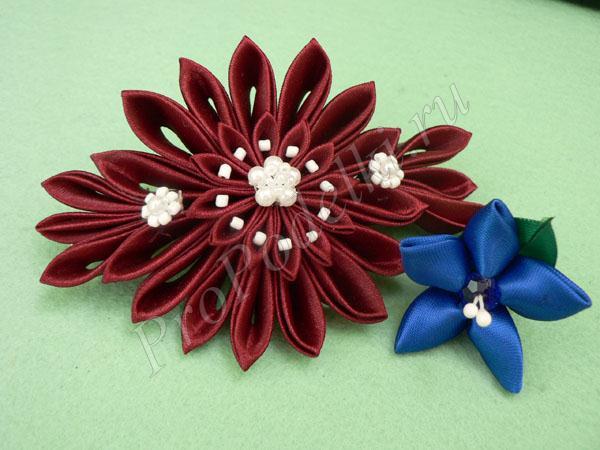 Цветы канзаши с острыми лепестками