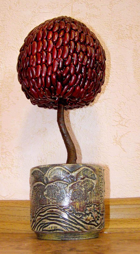 Дерево из фасоли покрытое лаком