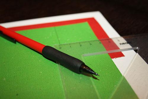Разметка квадратиков на цветном картоне