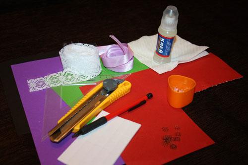 Материалы и инструменты для изготовления открытки