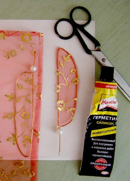 Изготовление крыл стрекозы из проволоки и ткани